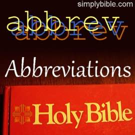 Abbreviations Bible Book Names